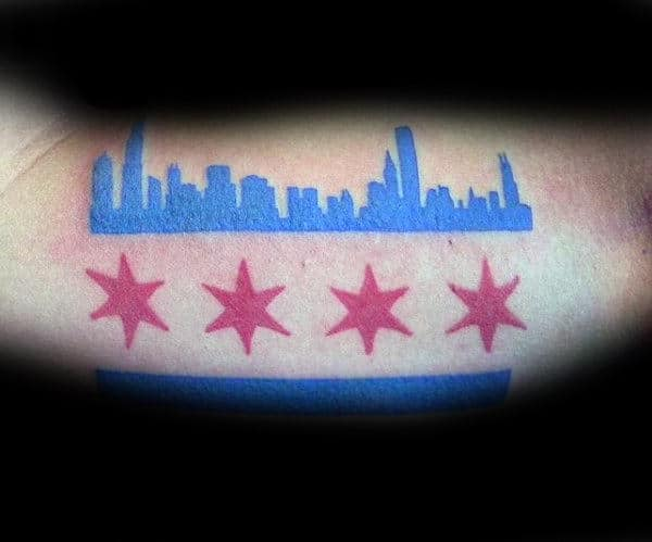 Blue And Red Ink Male Chicago Flag Tattoo On Biceps