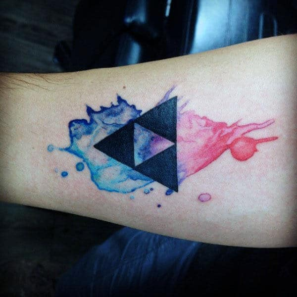 Blue And Red Ink Watercolor Male Triforce Zelda Forearm Tatoos