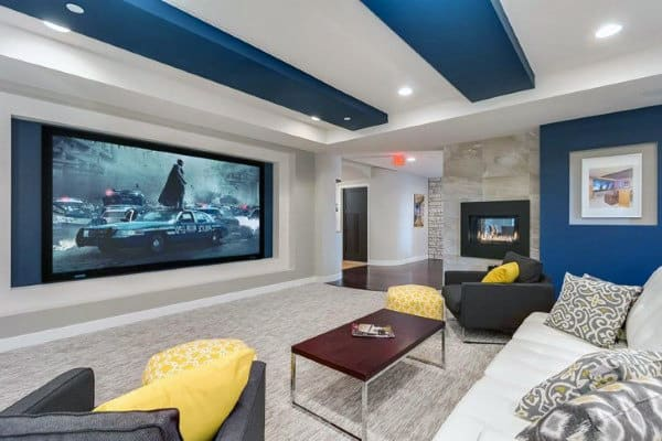 blue and white decorative home theater media room ideas - Home Theater Room Design Ideas