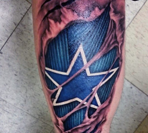 Blue And White Ink Dallas Cowboys Torn Skin Mens Start Tattoo On Leg