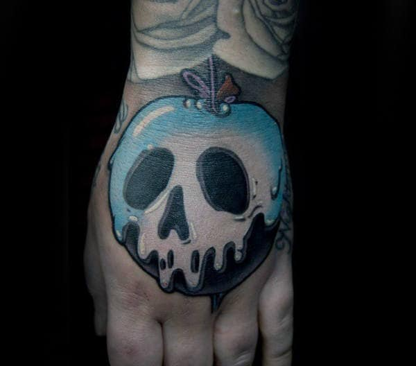 Blue And White Ink Poison Apple Skull Mens Hand Tattoos