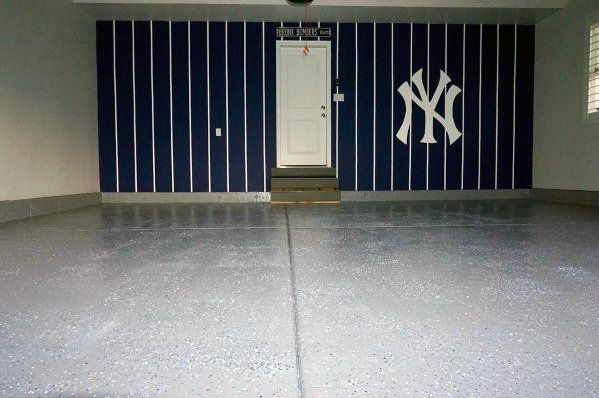 Blue And White New York Mets Themed Garage Wall