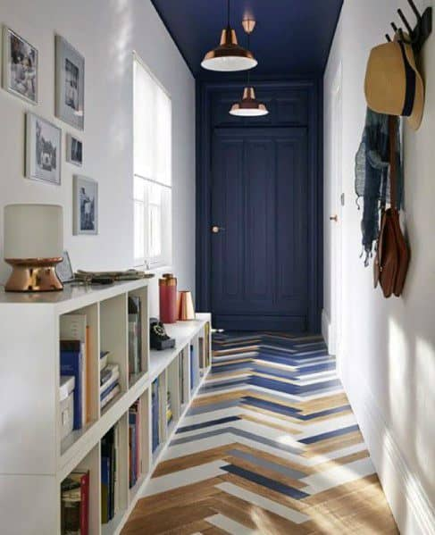 Blue And White Over Natural Hardwood Ideas For Painted Floor Interior