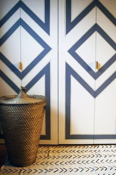 Blue And White Painted Pattern Closet Door Ideas For Bedrooms