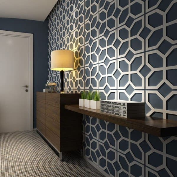 Blue And White Pattern Geometric Wainscoting Ideas For Hallway