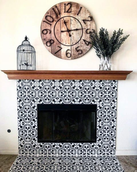 Blue And White Pattern Home Interior Painted Fireplace