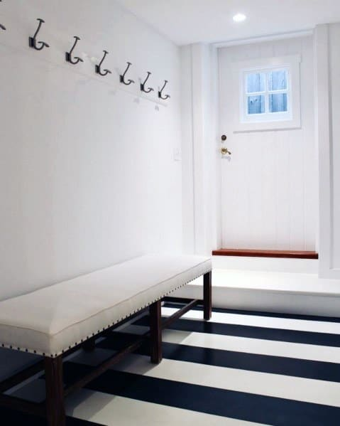 Blue And White Stripes Painted Entryway Flooring Ideas