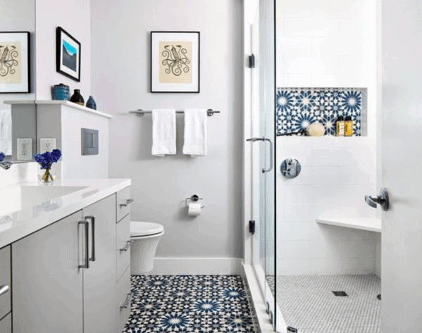 Blue And White Tiles Bathroom Designs Corner Shower