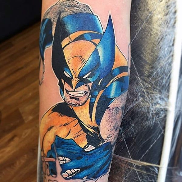 Blue And Yellow Ink Male Wolverine Forearm Tattoos