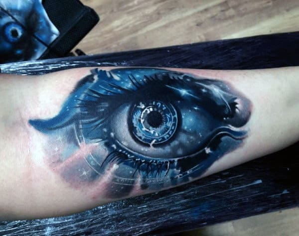 Blue Badass Futuristic Mens Inner Forearm Tattoo