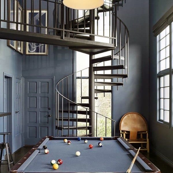 Blue Billiards Room Ideas With Spiral Staircase And Floor To Ceiling Window