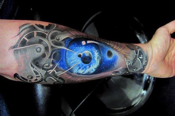 Blue Biomechanical Eye Tattoo