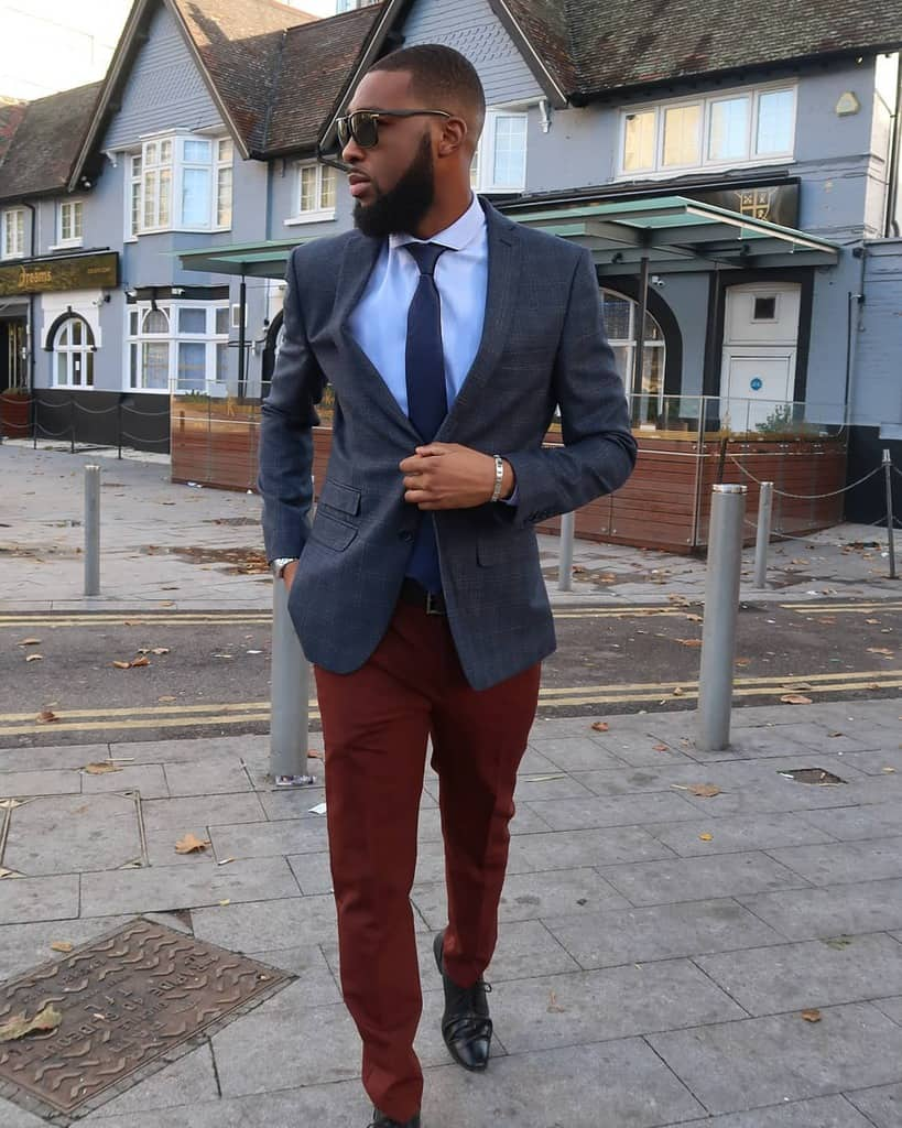 Blue Blazers Burgundy Fashion Suit Men