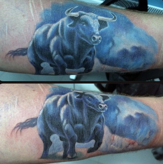 Blue Bull Riding Tattoo For Males
