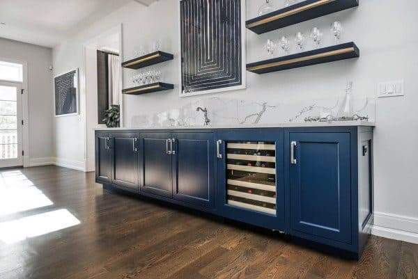 Blue Cabinets Home Wet Bar Ideas
