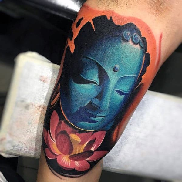 Blue Calm Budhha And Lotus Tattoo Male Inner Biceps