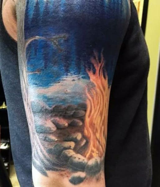 Blue Campfire Tattoos Of Flames For Men