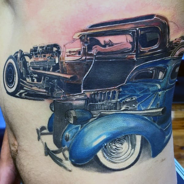 Blue Car Parts Hot Rod Tattoo Guys Rib Cage Side Of Body