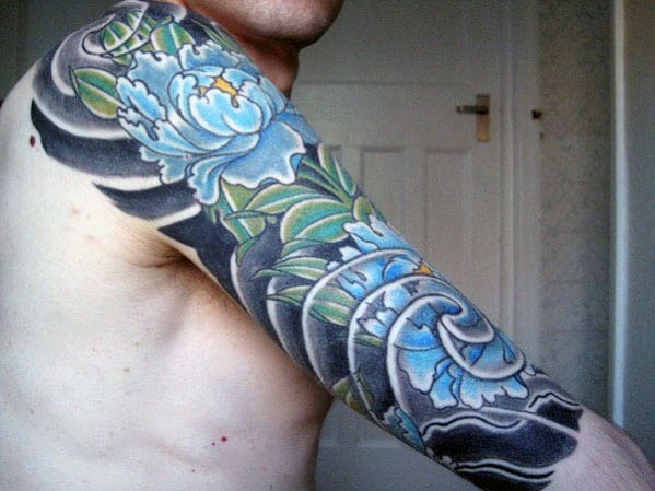 Blue Carnation Flower Half Sleeve Japanese Mens Tattoo