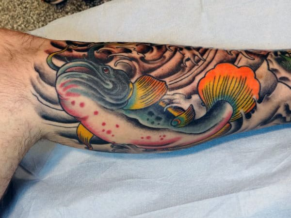 Blue Catfish With Colorful Fins Mens Half Sleeve Tattoos