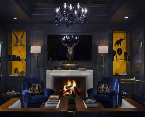 Sedie blu con muri grigi Cool Man Cave Ideas