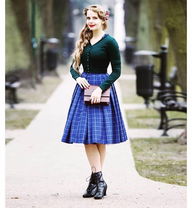 Blue Checkered Skirt Modern Victorian Style