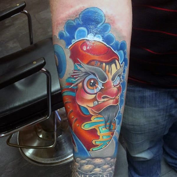 Blue Clouds Daruma Doll Mens Inner Forearm Sleeve Tattoo