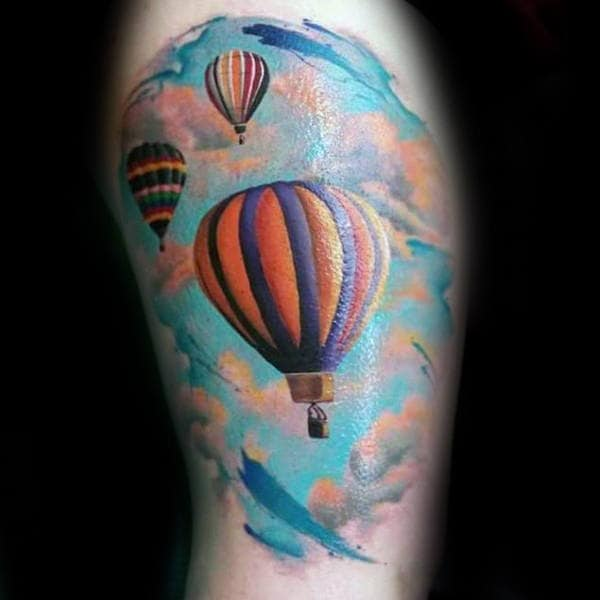 Blue Clouds With Hot Air Balloons Mens Arm Tattoo Design Ideas