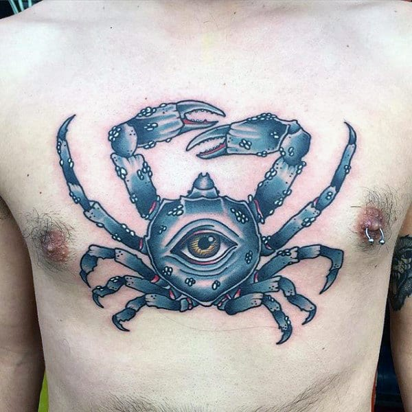 Blue Crab With All Seeing Eye Mens Upper Chest Tattoos