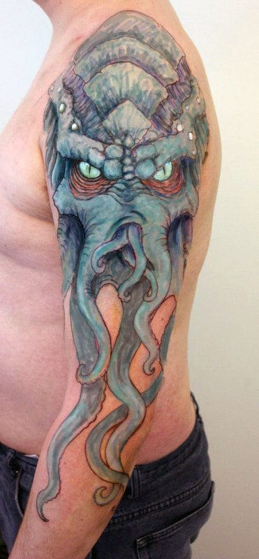 Blue Cthulhu With Glowing Eyes Mens Full Arm Tattoos