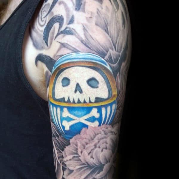 Blue Daruma Doll With Skull And Cross Bones Mens Arm Tattoos