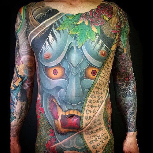 Blue Demon Mask Oni Mens Japanese Chest Tattoos