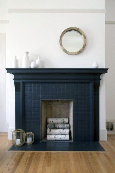 Blue Design Ideas Painted Fireplace