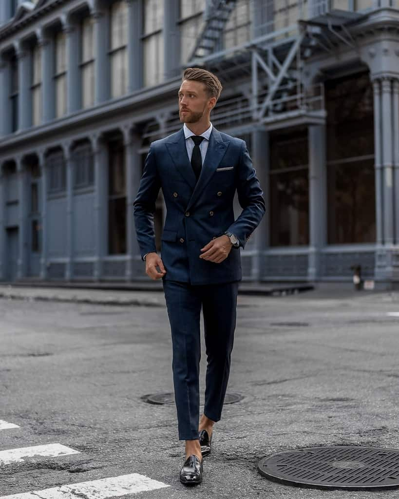 Blue Double Breasted Men Suit Outfit
