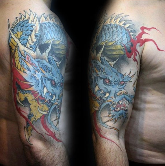 Blue Dragon Guys Outer Arm Tattoo Designs