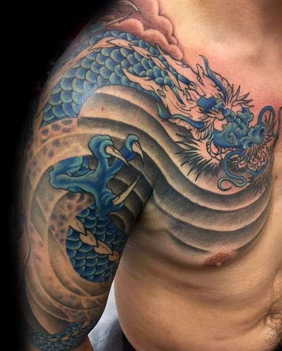 Blue Dragon Wind Guys Shoulder And Arm Tattoo Ideas