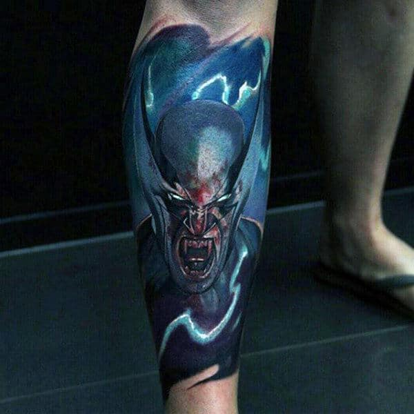 Blue Electric Wolverine Mens Leg Sleeve Tattoo