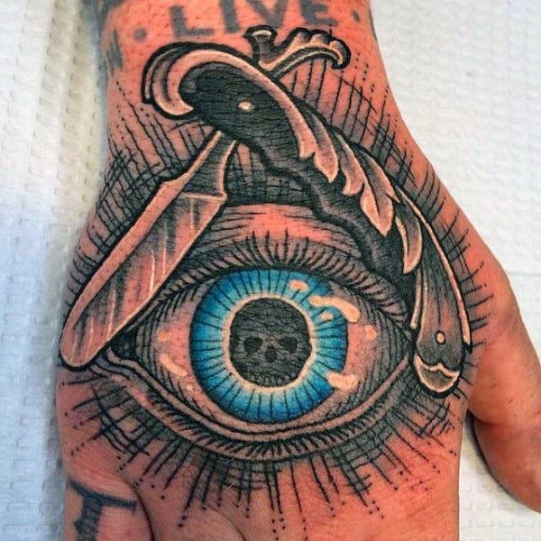 Blue Eyed Illuminati Tattoo Male Hands