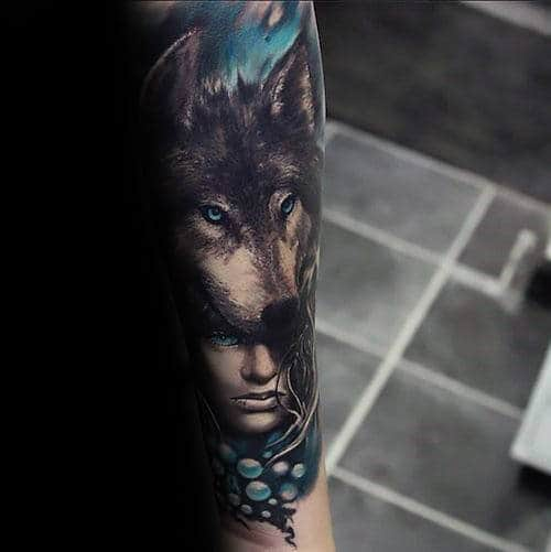 Blue Eyed Wolf Mens Realistic Forearm Tattoos