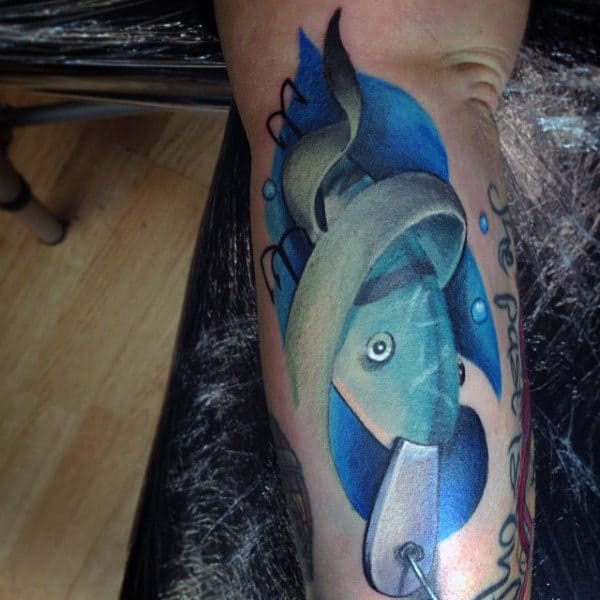 Blue Fish Hook Baitfish Tattoo On Outer Forearm For Males