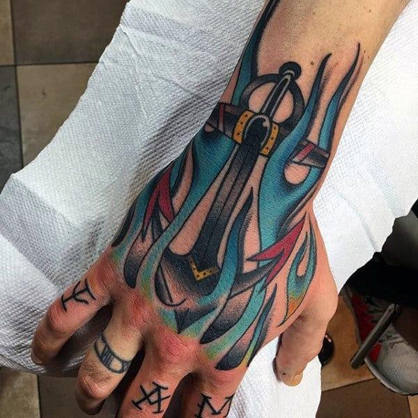 Blue Flames Anchor Artistic Mens Hand Tattoos