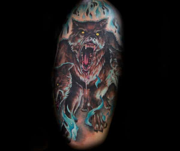 Blue Flames Hound Of Hades Cerberus Guys Masculine Tattoo Ideas