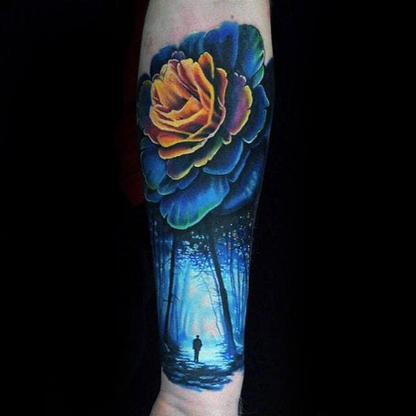 Blue Forest With Rose Flower Mens Colorful Forearm Sleeve Tattoos