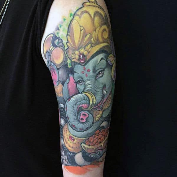 Blue Ganesh With Gold Crown Guys Arm Tattoos