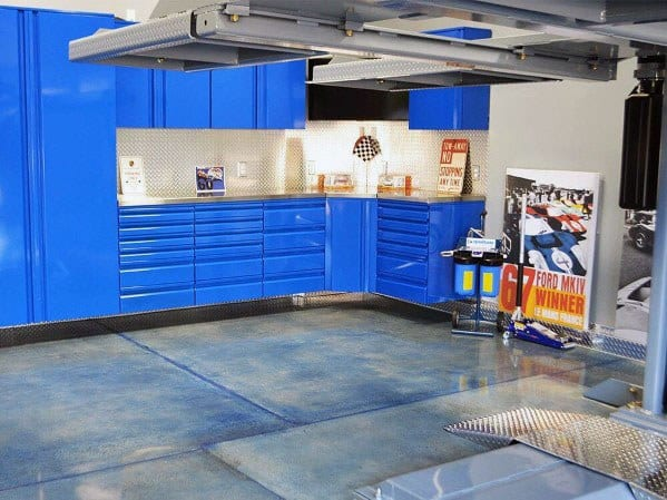 Blue Garage Cabinet Cool Interior Ideas