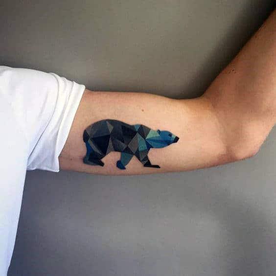 Blue Geometric Bear Bicep Arm Tattoos On Man