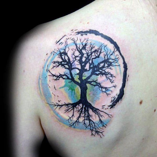 d4f237bc9 ... Tattoo. Blue Green And Black Male Tree Of Life Shoulder Blade Tattoos