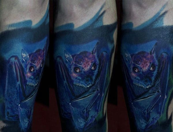 Blue Guys Tattoos Of Bats Designs