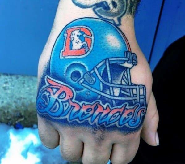Blue Helmet Denver Broncos Guys Hand Tattoo