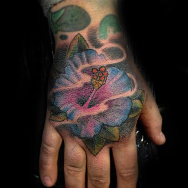 Blue Hibiscus Flower Mens Hand Tattoo